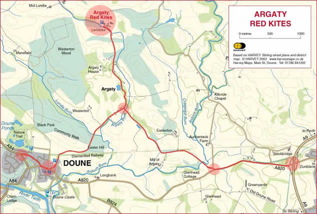 Map showing Argaty Red Kites, Doune (by Harvey Maps)